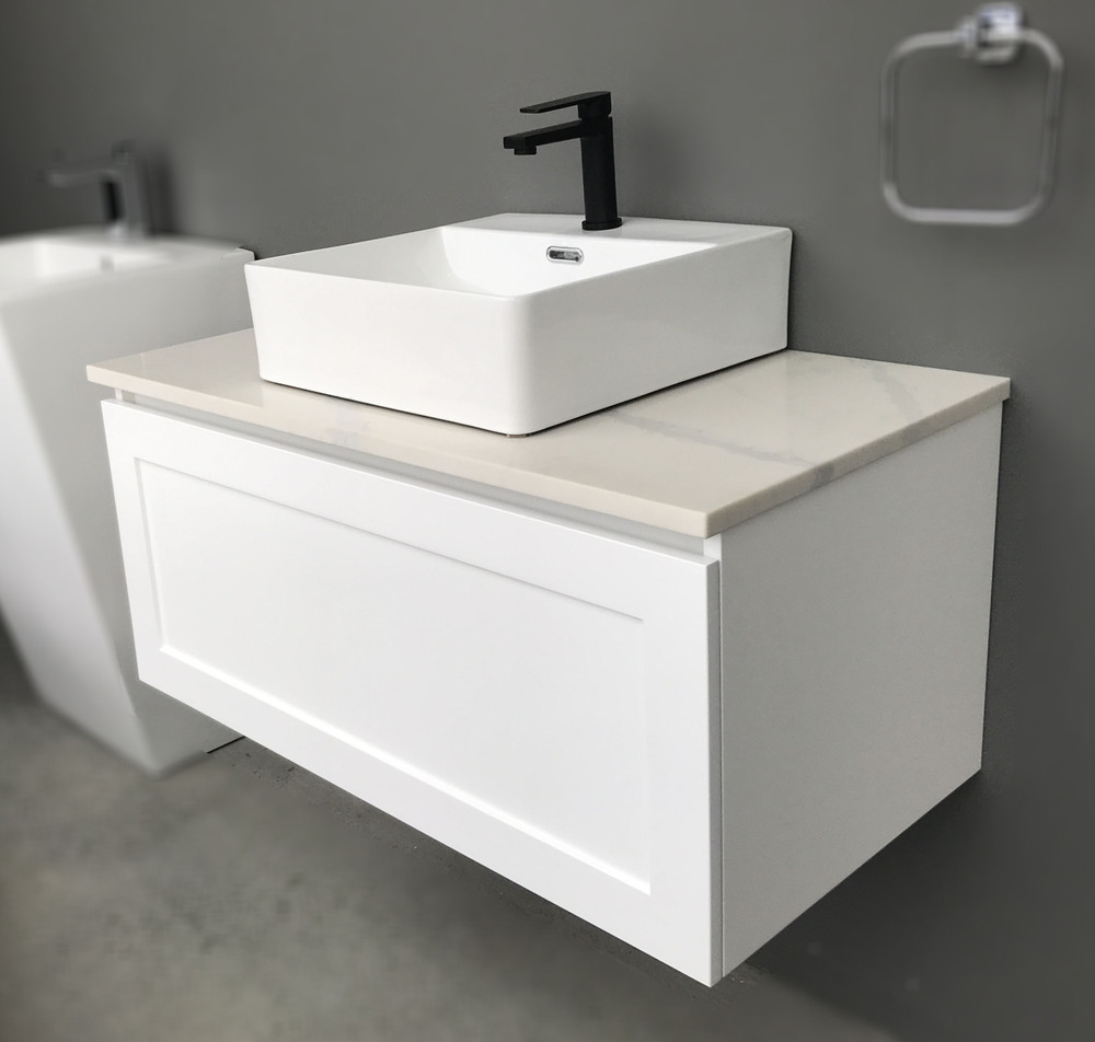 England Shaker Hampton Style 750 mm Vanity with Stone Top & Bench-top Basin