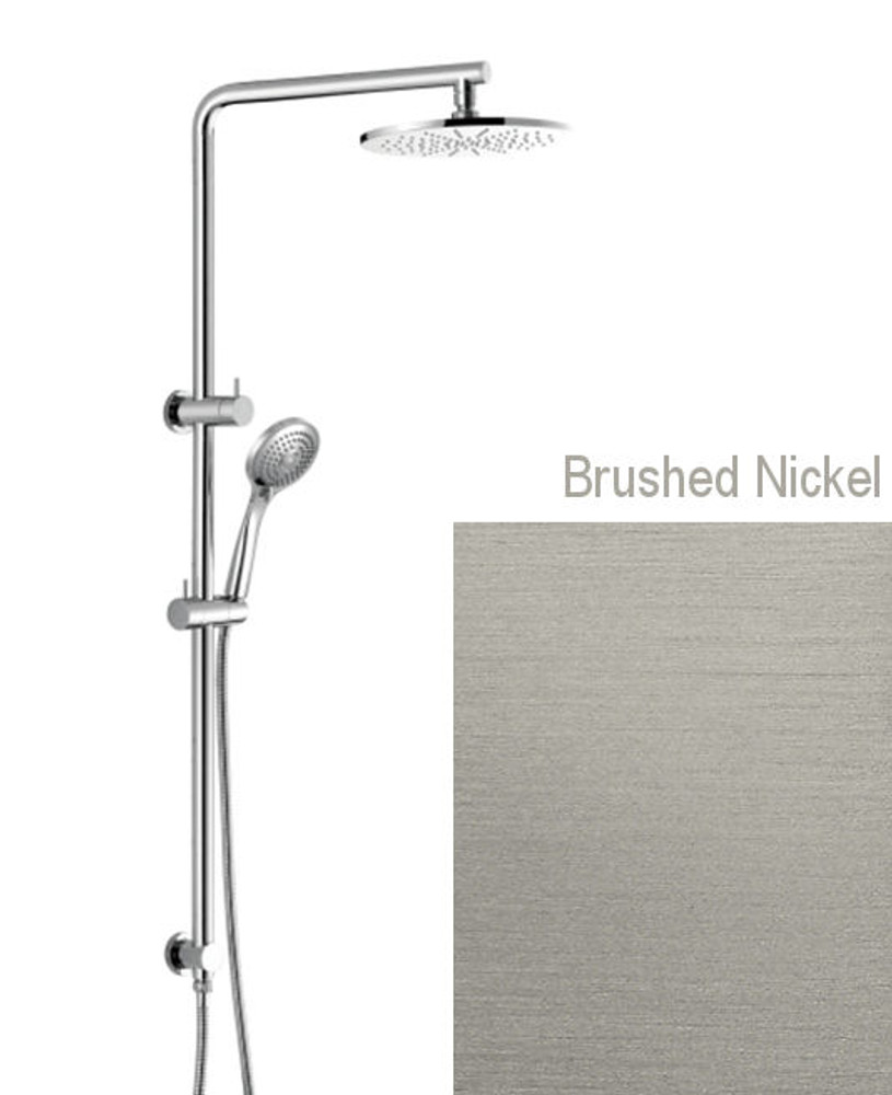 Brushed Nickel Round Twin Shower Combination - Back Inlet