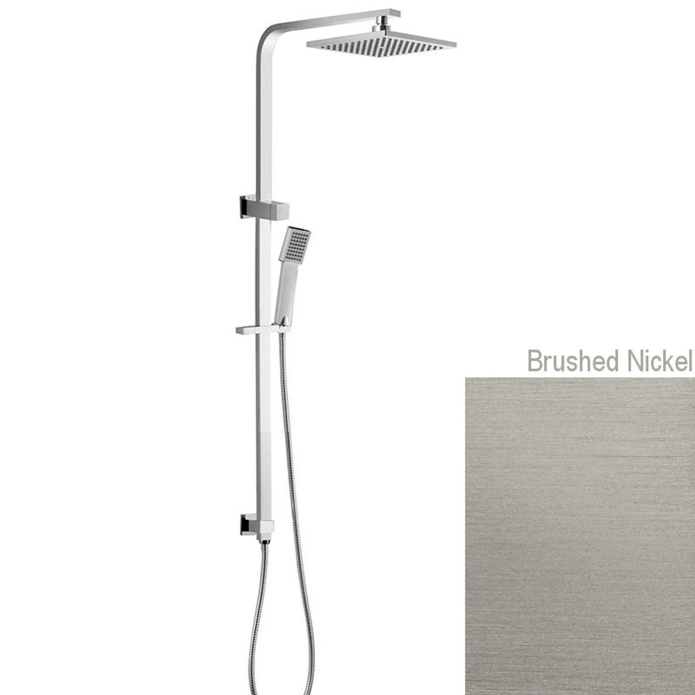 Brushed Nickel Square Twin Shower Combination Back Inlet