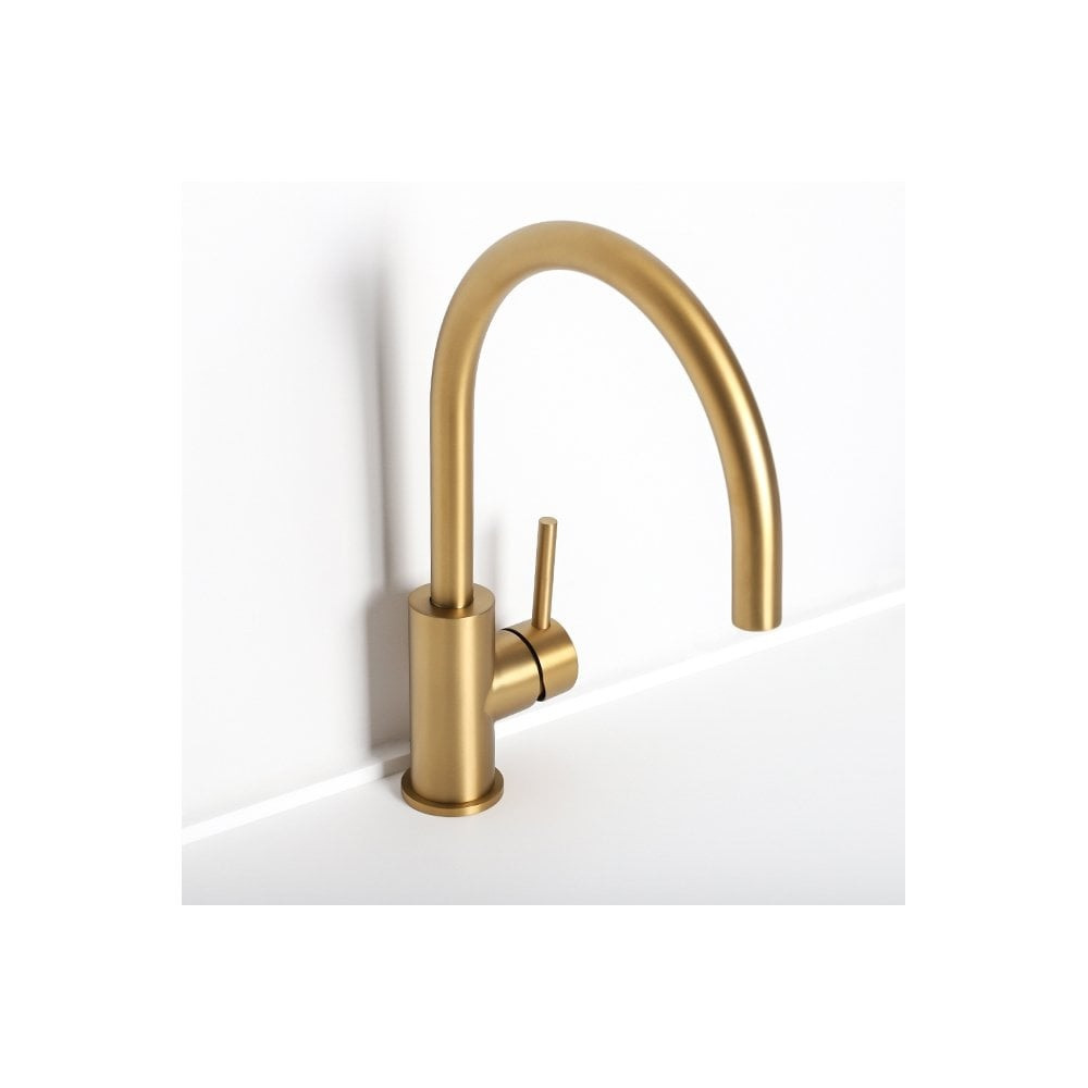 GOLD | BRASS Lollypop Gooseneck Kitchen & Basin Mixer Tap