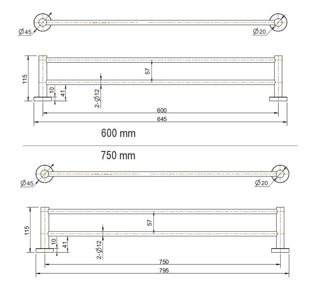 GOLD   BRASS Lollypop Double Towel Rail 600mm   750mm