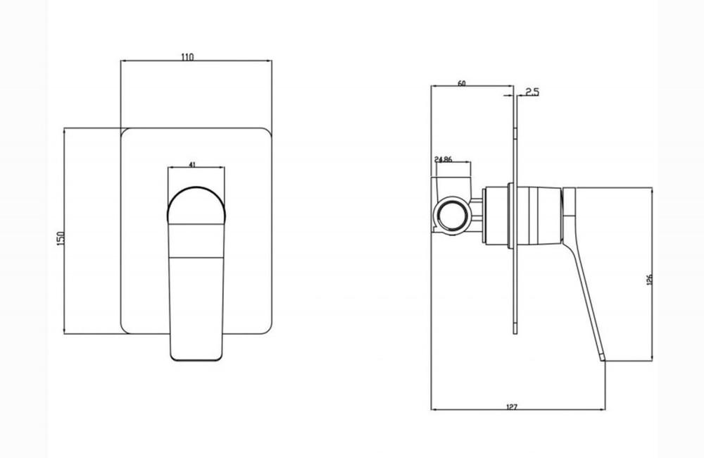 Rushy Gun Metal Grey Shower and Bath Mixer