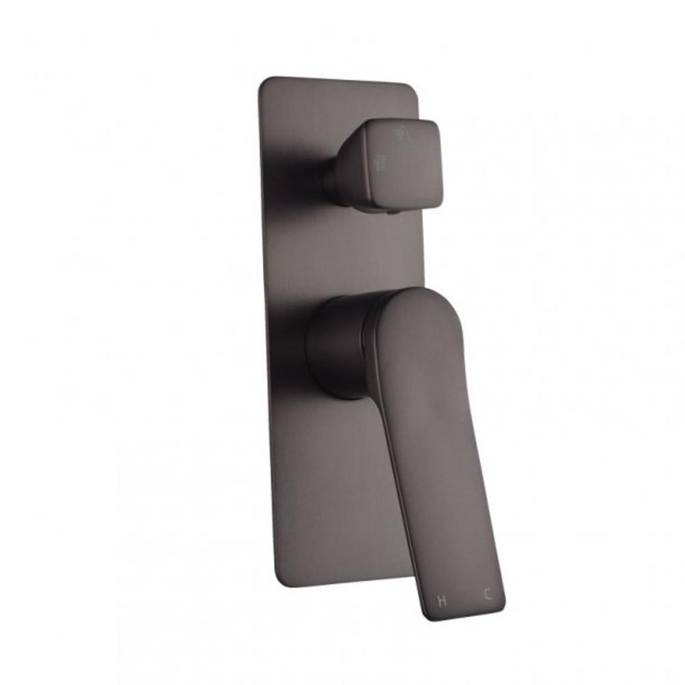 Rushy Gun Metal Grey Shower Mixer With Diverter