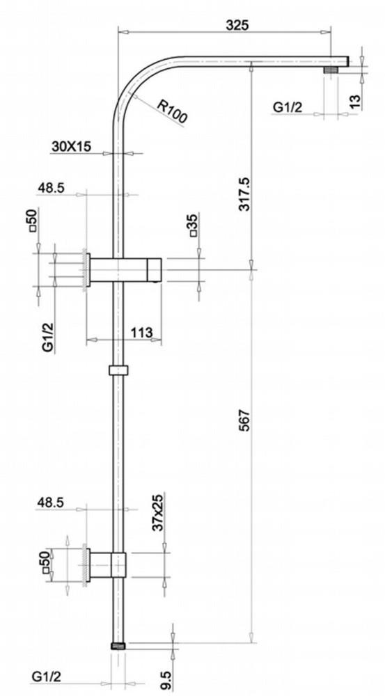 Rushy  Square Gun Metal Grey Shower Combo Top Water Inlet