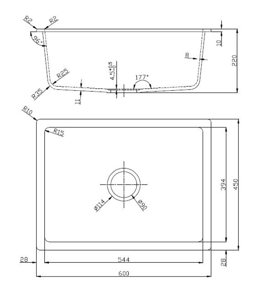 Normandy Granite Kitchen Sink - Under Mount & Drop In - Single Bowl - 600x450
