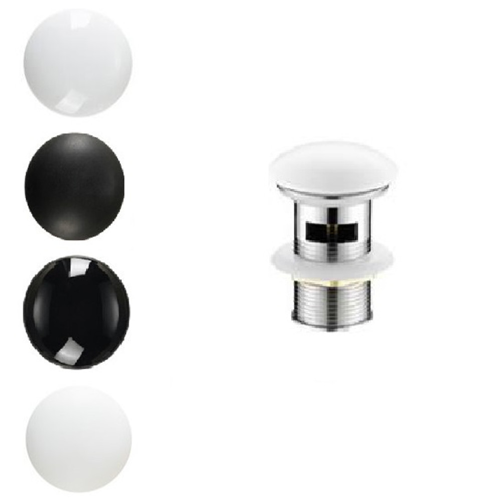 Ceramic Cap Basin Popup Waste Black White