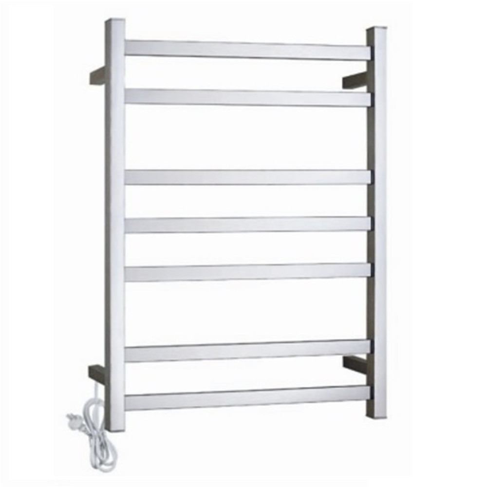 Brushed Stainless Steel, Brushed Nickel Heated Towel Rail - Square
