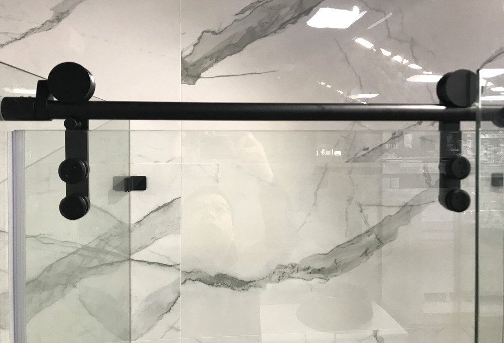 Wall to Wall Sliding Frameless Shower Screen -Roller 2 Panels 990mm - 1590mm