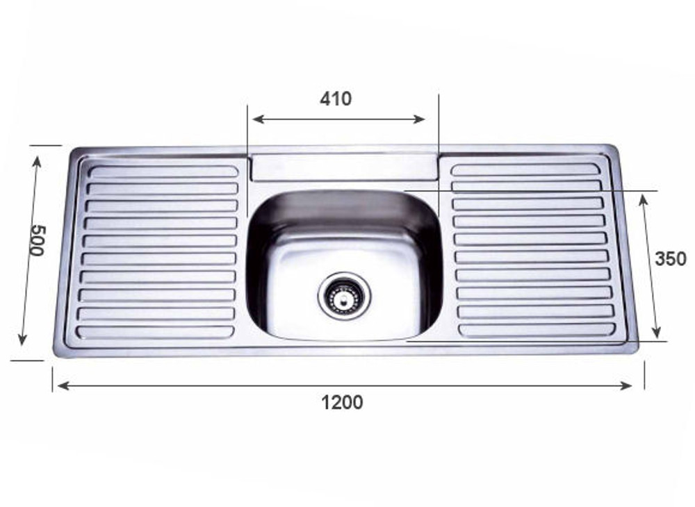 PROJECT Inset Kitchen Sink 1200mm - Single Bowl with Double Draining Board