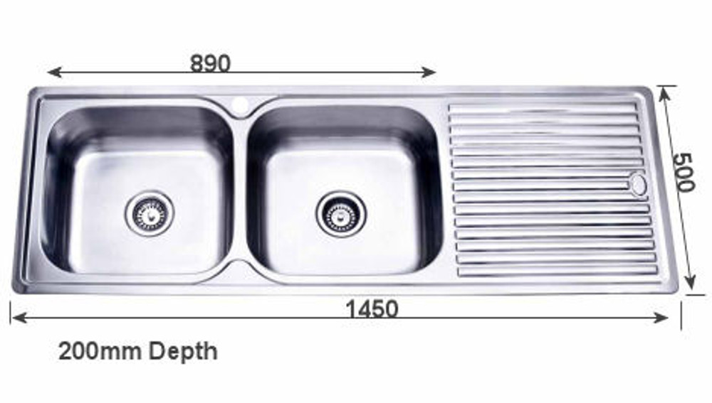 project inset kitchen sink 1450mm double bowl with draining board rh renovationd com au kitchen sink with double draining board kitchen sink draining board mats