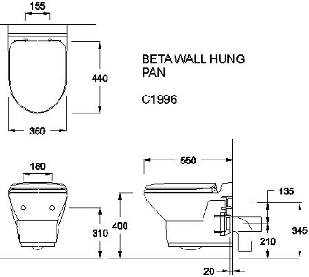 WELS Beta In Wall Cistern Toilet - Wall Hung - Include Cistern a
