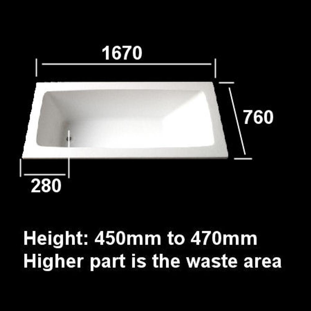 Turin Inset Drop In Baths 1550mm  1670mm