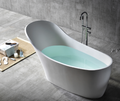 Normandy 8811 Solid Surface Stone Freestanding Bathtub - 1690 White Black