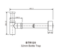 Brushed Nickel Wall Bottle Trap 32mm
