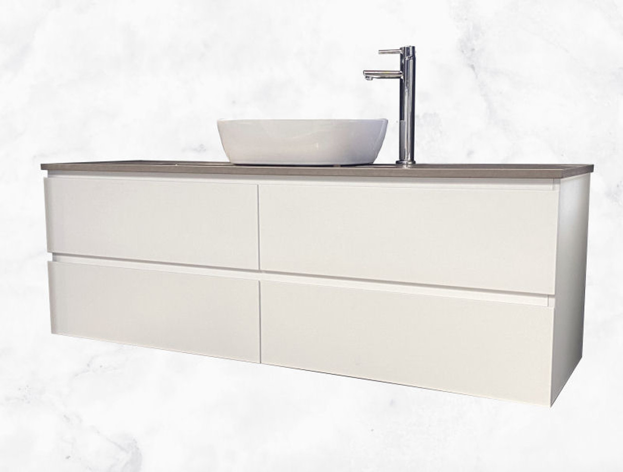 Infinity Premium All Drawers Wall Hung Vanity Stone Bench Top Standard Depth Twin Height Size