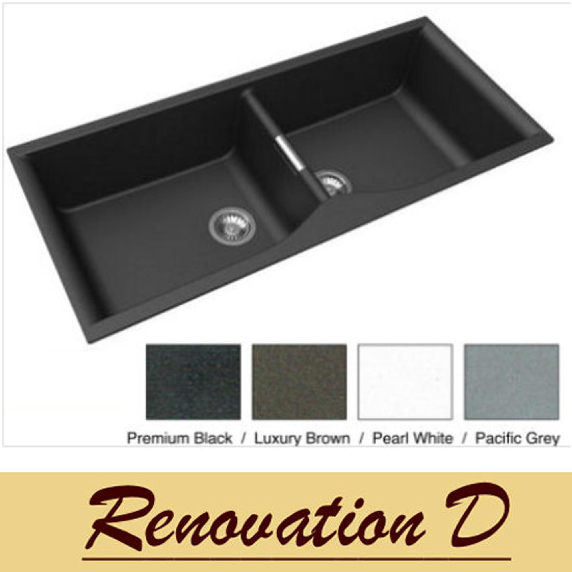 Zum Granite Kitchen Sink Double Bowl 1140mm X 500mm Renovation D