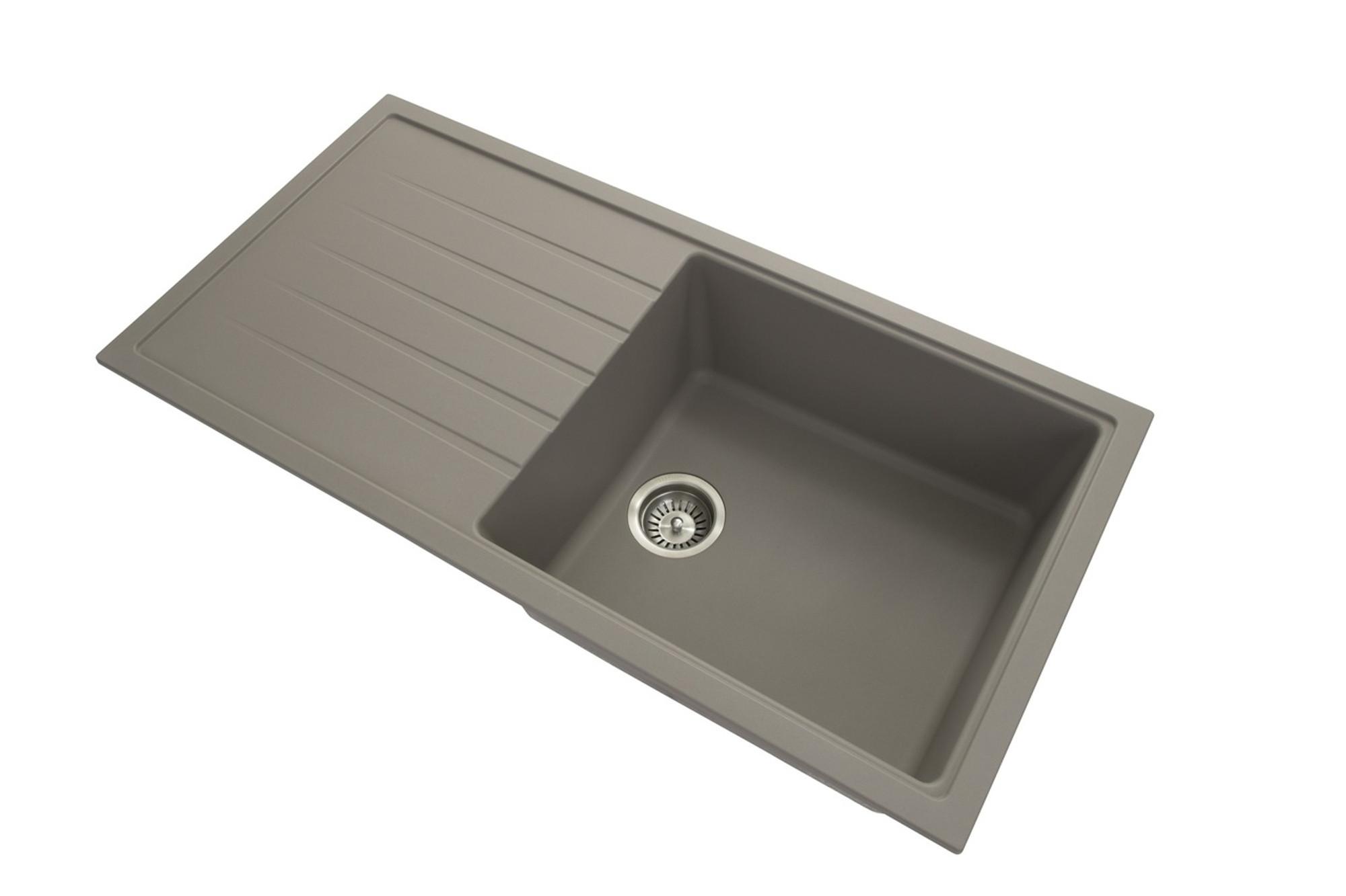 Carysil granite kitchen sink drop in or under mount single bowl drainer 1000