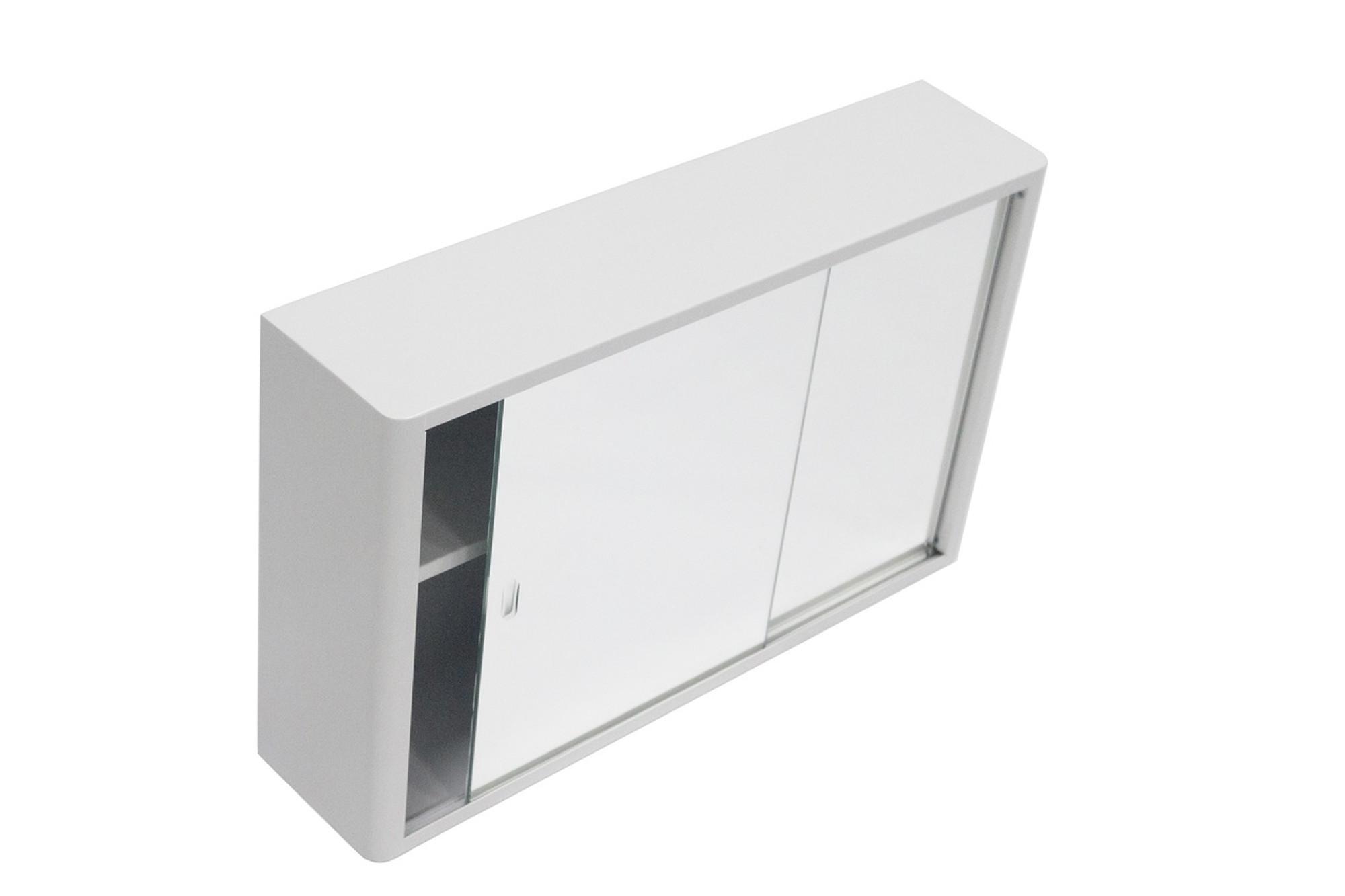 White Cabinet With Sliding Mirror Door Storage Shaving Cabinet