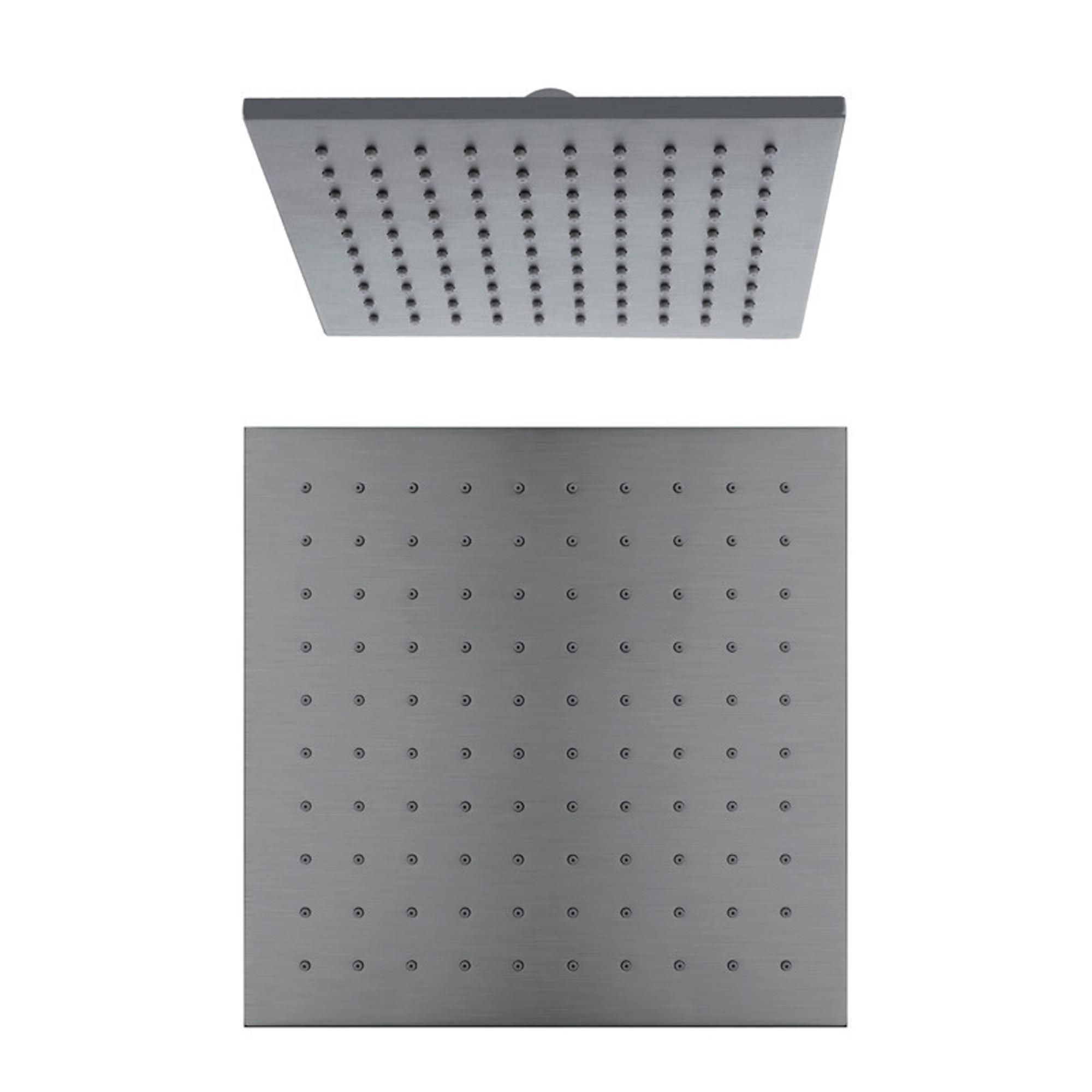 Normandy Ultra Thin Gun Metal Grey Square Rain Shower Head 250mm