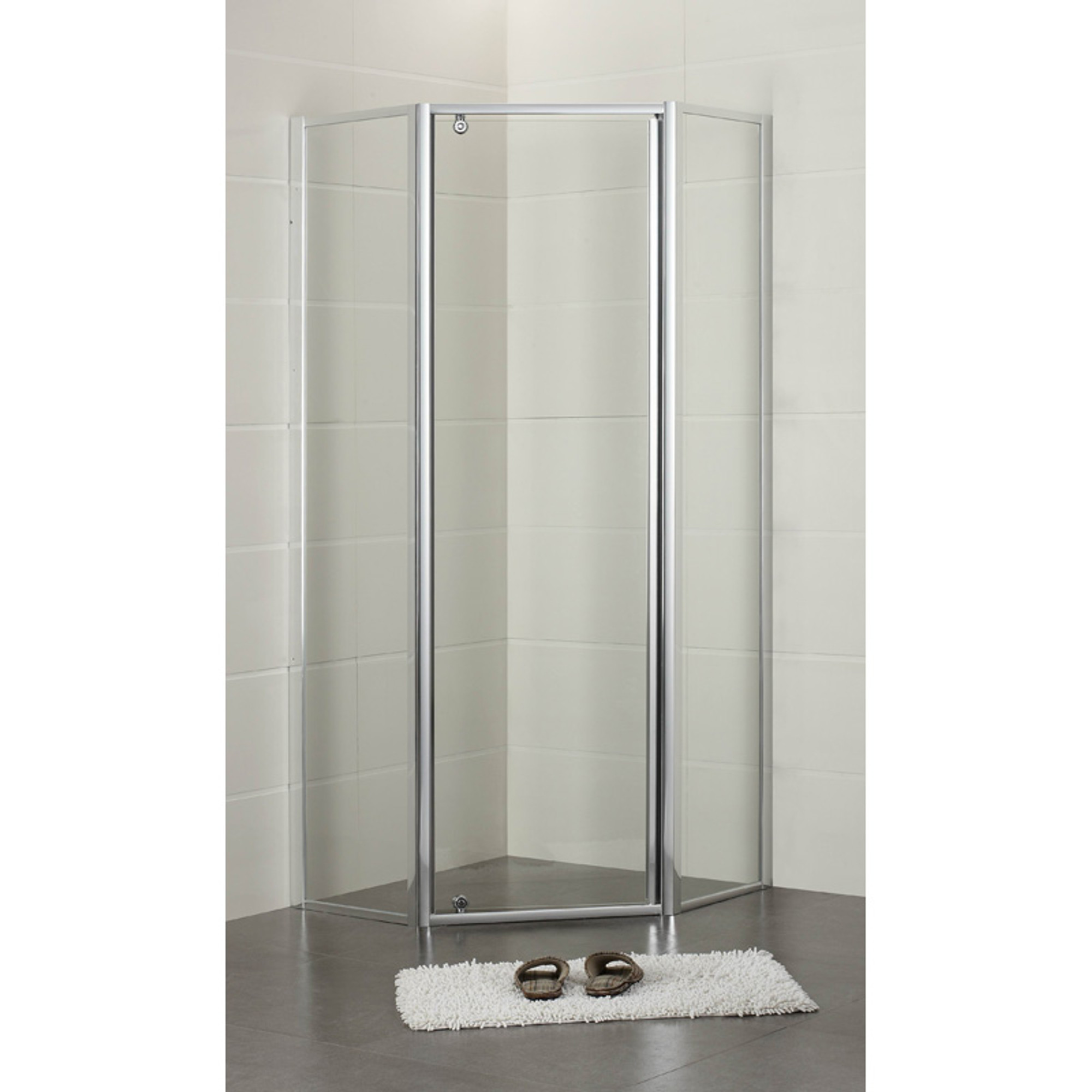 Normandy Semi Frameless Pivot Shower Screen Diamond Shape