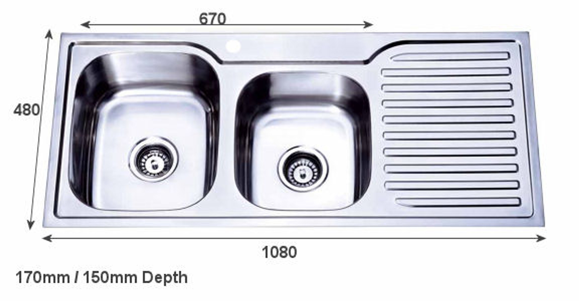 Peachy Project Inset Kitchen Sink 1080Mm 1 1 2 Bowl With Draining Board Download Free Architecture Designs Scobabritishbridgeorg