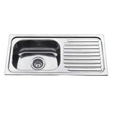 PROJECT Narrow Inset Kitchen Sink 760mm - Single Bowl with Draining Board