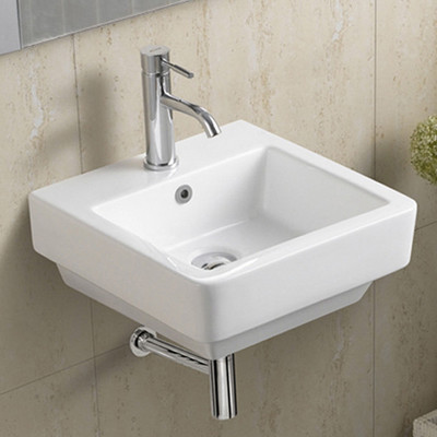 Square Wall Mounted / Wall Hung Ceramic Basin