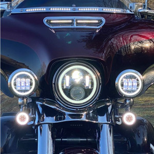 """4.5"""" MOTORCYCLE LED PASSING LAMPS WITH WHITE HALO"""