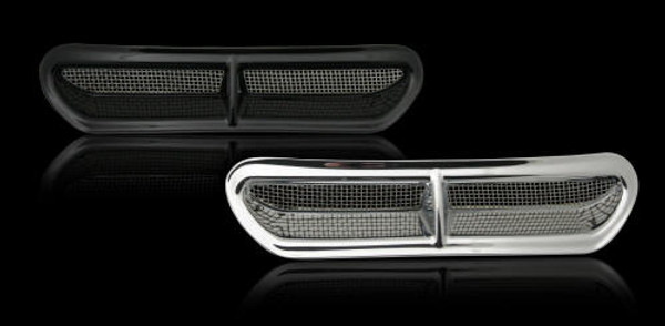 Chrome Finish Mounts with 3M Tape Stainless Steel Mesh Match Stock Air Cleaner Optional Light Kit Available Fits '14 HD Touring with Batwing Fairings