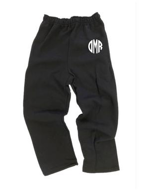Embroidered Monogram Open Bottom Sweatpants