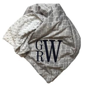 Gray Monogram Pattern Blanket