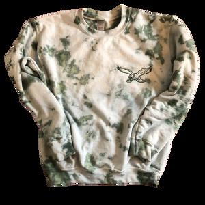 Dark Green Tie Dye Embroidered Sweatshirt (Adult & Youth)