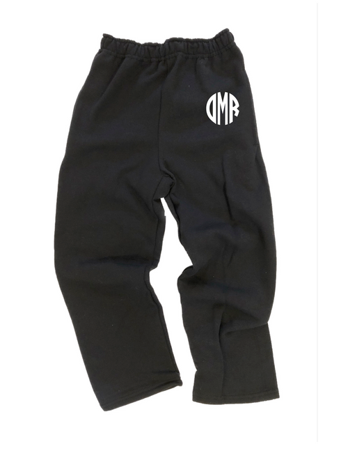 Embroidered Monogram Open Bottom Sweatpants