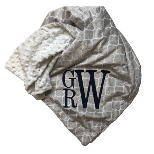 Gray Monogram Pattern Blanket