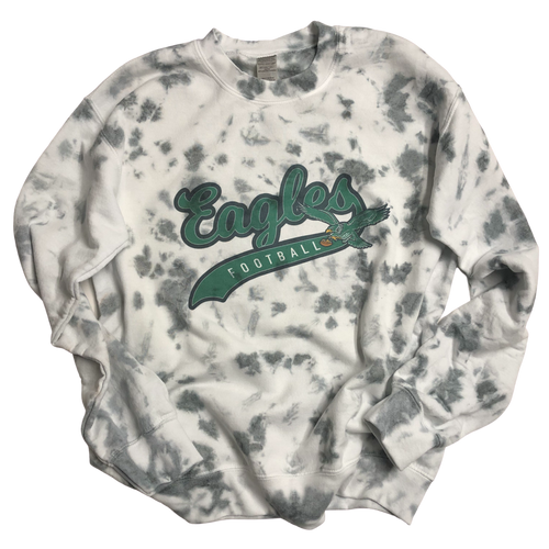 Eagles Football Gray Tie Dye Sweatshirt