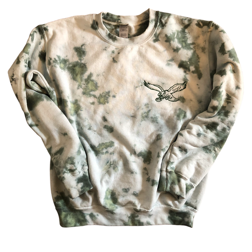 Dark Green Tie Dye Embroidered Sweatshirt (Adult & Youth)