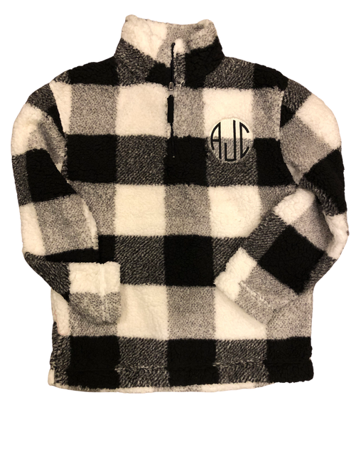 Embroidered 1/4 Zip Unisex Plaid Sherpa