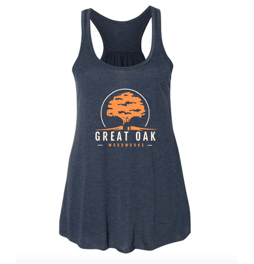 Heather Navy Women's Flowy Tank (Great Oak Woodworks)