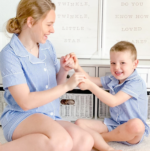 Preorder Embroidered Monogram Gingham Button Down Pajamas (Blue)