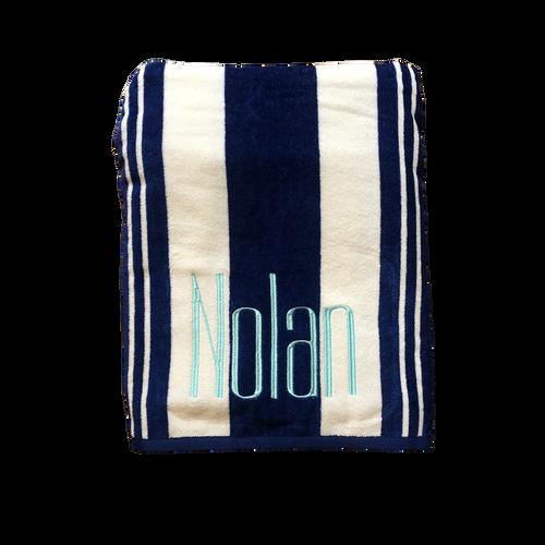 Striped Beach Towel (Blue & White)