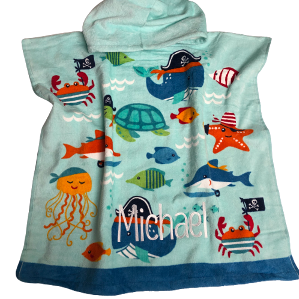Blue Whale Hooded Poncho Towel (Toddler)
