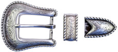 "TBS-S5554 3-Piece Western Buckle Set - Silver Finish - 1"" or 25mm Wide"