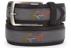 Greg Norman Embroidered Logo Leather Belt - 6968500-003