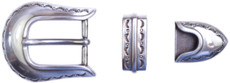 "TBS-S5536 3-Piece Western Buckle Set - Silver Finish - 1"" or 25mm Wide"