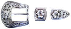 "TBS-S5445 3-Piece Western Buckle Set - Silver Finish - 1"" or 25mm Wide"
