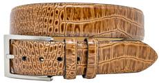 Greg Norman Crocodile Print 38mm Wide Leather Belt - Brown
