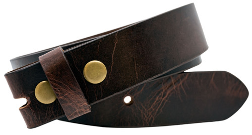 Full Grain Aniline Buffalo Solid Leather Belt Strap - Red Brown