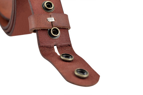 Full Grain Buffalo Leather Solid One-Piece Belt Strap Aniline Finish Red Brown