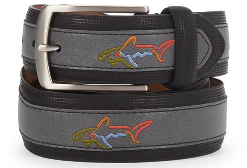 Greg Norman Embroidered Logo Leather Belt - 6968500-003
