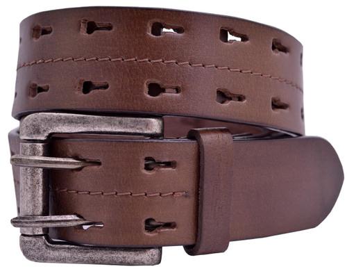 Full Grain Buffalo Leather 2-Hole Keyhole Jeans Belt - Brown